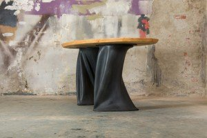 table made of wood and rubber