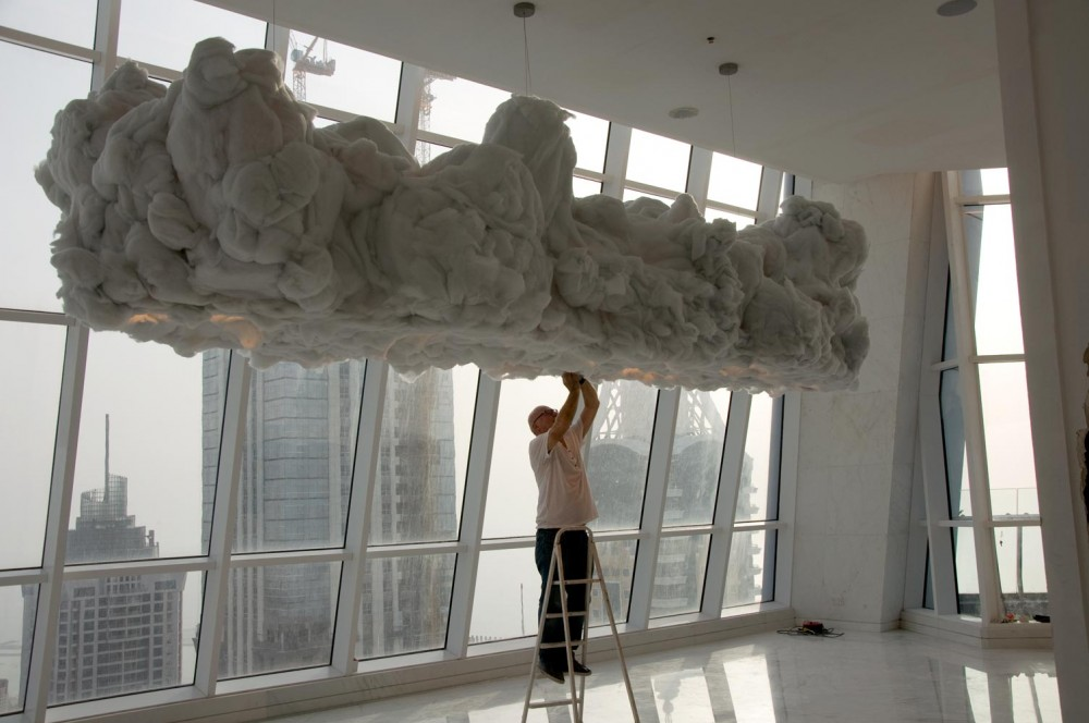 Wout Wessemius working on the cloud light