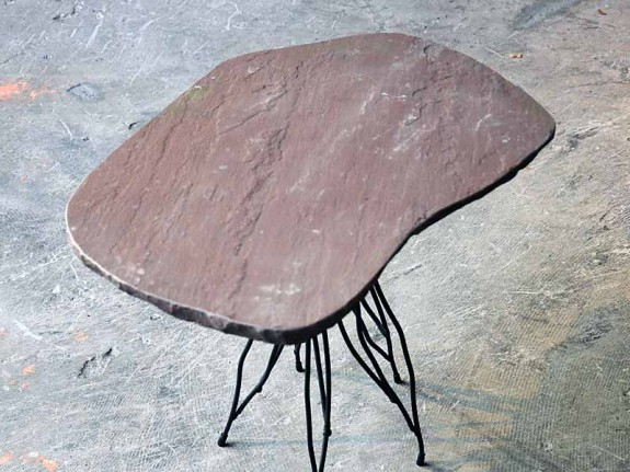 side table made of natural stone an