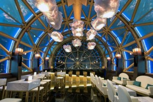 Cloud lights hanging in restaurant Al Grissino (Dubai)