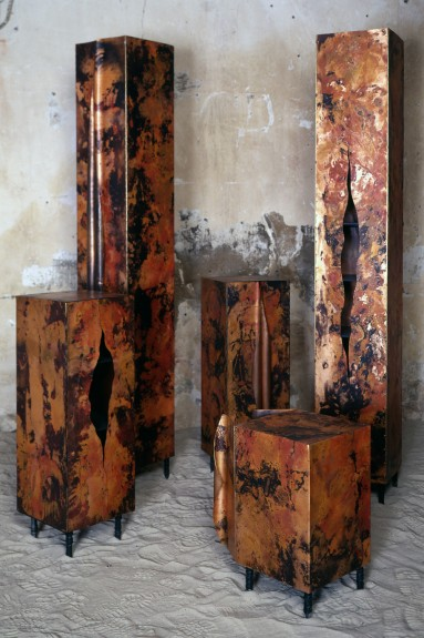 cupboards made of patinated copper