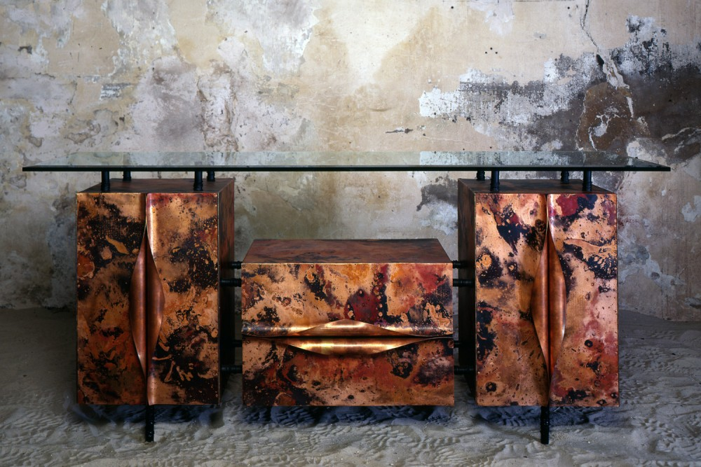 dresser made of patinated copper